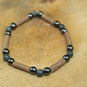 Bracelet Simple Bois de Noisetier et Agate Mousse