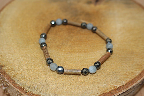 Bracelet Simple Bois de Noisetier et Aigue Marine