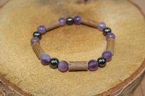 Bracelet Simple Bois de Noisetier et Améthyste