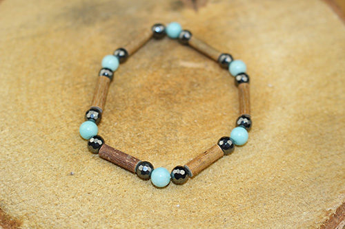 Bracelet Simple Bois de Noisetier et Amazonite