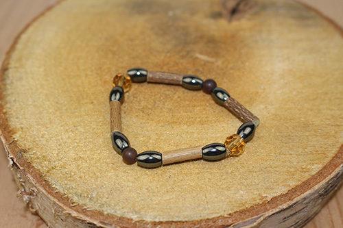 Bracelet Simple Bois de Noisetier et Ambre