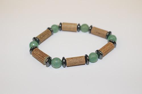 Bracelet Simple Bois de Noisetier et Aventurine