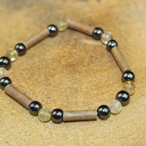 Bracelet Simple Bois de Noisetier et Citrine