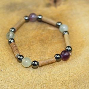 Bracelet Simple Bois de Noisetier et Fluorite