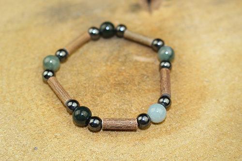 Bracelet Simple Bois de Noisetier et Jade