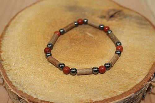 Bracelet Simple Bois de Noisetier et Jaspe Rouge