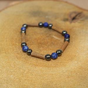 Bracelet Simple Bois de Noisetier et Lapis Lazulli