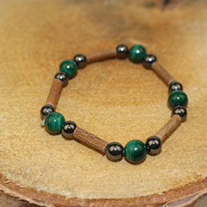 Bracelet Simple Bois de Noisetier et Malachite