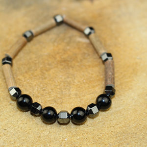 Bracelet Simple Bois de Noisetier et Obsidienne