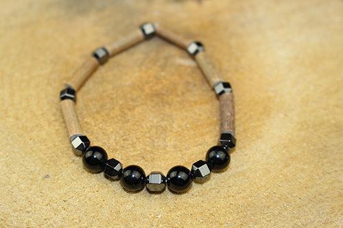 Bracelet Simple Bois de Noisetier et Obsidienne