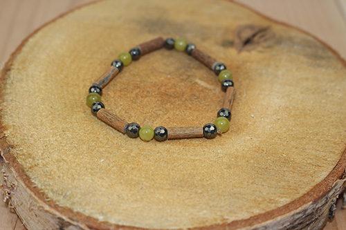 Bracelet Simple Bois de Noisetier et Péridot