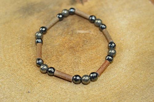 Bracelet Simple Bois de Noisetier et Pyrite