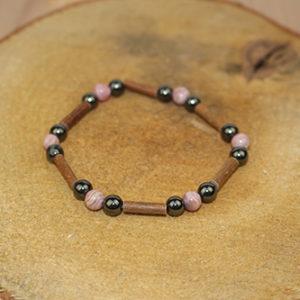 Bracelet Simple Bois de Noisetier et Rhodocrosite