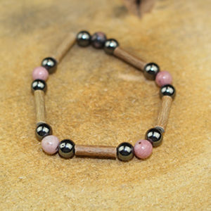 Bracelet Simple Bois de Noisetier et Rhodonite
