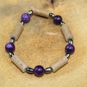 Bracelet Simple Bois de Noisetier et Sugulite