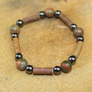 Bracelet Simple Bois de Noisetier et Unakite Epidote