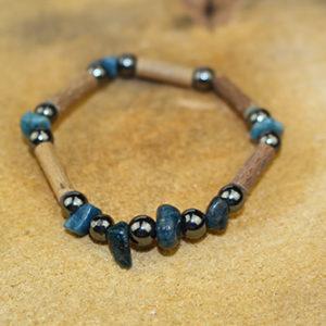 Bracelet Simple Bois de Noisetier et Apatite